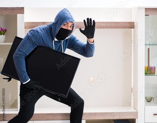 Fotomural  Man burglar stealing tv set from house