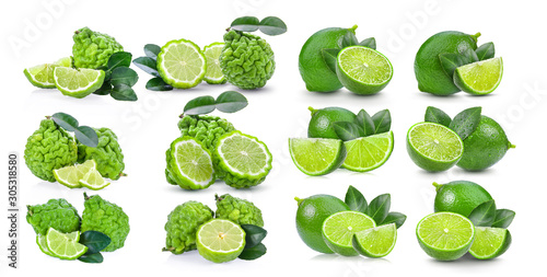 Photo set of bergamot and lime fruit isolated on white background