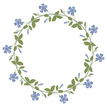 Isolated Vector Illustration. Round Floral Decor Or Frame. Wreath Of Periwinkle Flowers. Folk Vintage Style.