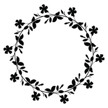 Isolated Vector Illustration. Round Floral Decor Or Frame. Wreath Of Periwinkle Flowers. Folk Vintage Style. Black Silhouette On White Background.