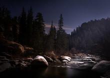Long Exposure Of A River At Ni...