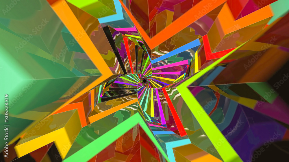 Colorful Twisted Tunnel Made of Cubes - 3D Illustration