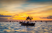 Beautiful Nature Scenic Landscape Golden Sunset Sea Beach With Silhouette Fisherman Boat Pattaya, Famous Place Tourist Travel Chonburi Thailand Summer Holiday Vacation Trips, Tourism Destinations Asia