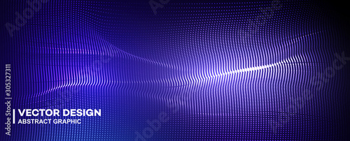 Foto auf Leinwand Violett Abstract particle fractal background, hi-tech and big data background illustration