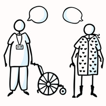 Hand Drawn Stick Figure Orderly & Old Patient With Walking Stick, Speech Bubble & Wheel Chair. Concept Hospital Elderly Care. Cartoon Icon For Man In NightGown Transport Illustration. Vector Eps 10