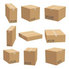 Set Of Cardboard Box Mockups. ...
