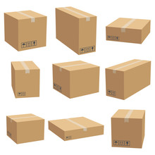 Set Of Cardboard Box Mockups. ...