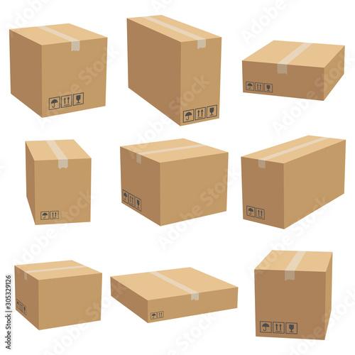 Leinwand Poster Set of cardboard box mockups