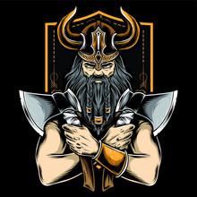 Viking Holding Axe Vector Logo