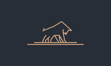 Simple Line Art Bull Logo Desi...