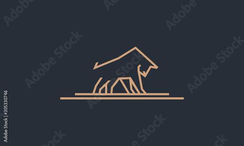 simple line art bull logo design inspirations
