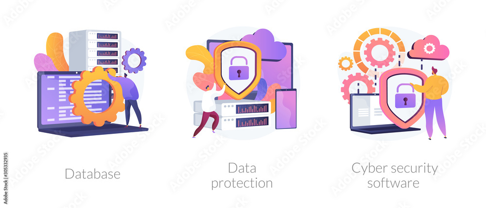Fototapeta Data protection metaphors set. Database, cyber security, control, protection of computer services and electronic information colorful icons pack. Vector isolated concept metaphor illustrations