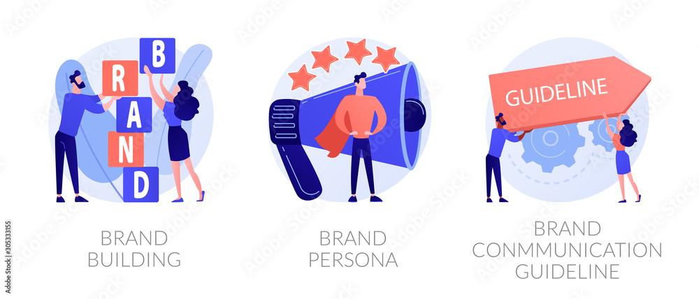 Fototapeta Corporate identity, company personality development. Reputation management. Brand building, brand persona, brand communication guideline metaphors. Vector isolated concept metaphor illustrations