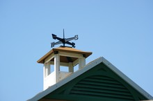 Wind Indicator Anemometer Planted On Green Roof Top
