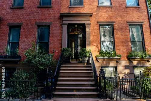 Brownstone facades & row houses at sunset in an iconic neighborhood of Brooklyn Wallpaper Mural