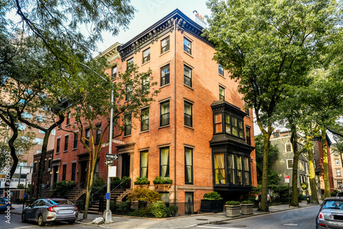 Brownstone facades & row houses at sunset in an iconic neighborhood of Brooklyn Canvas Print
