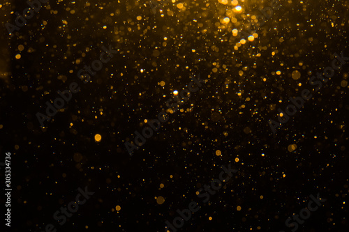 Fototapety, obrazy: Abstract gold bokeh with black