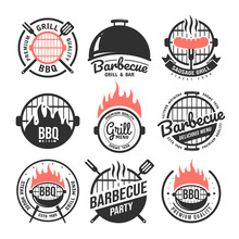 Barbecue And Grill Labels Set. BBQ Emblems And Badges Collection. Restaurant Menu Design Elements. Vector Illustration