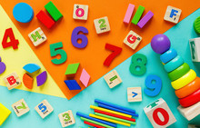 Wooden Kids Toys On Colourful ...