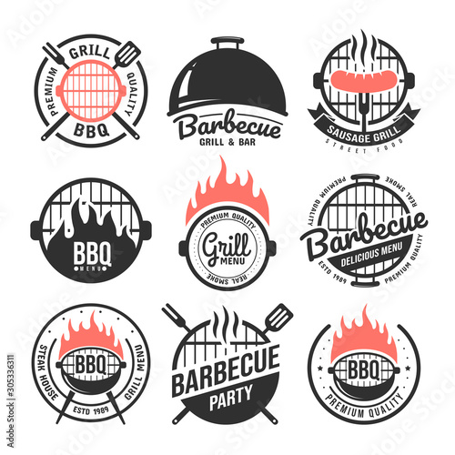 Fototapeta Barbecue and grill labels set. BBQ emblems and badges collection. Restaurant menu design elements. Vector illustration obraz