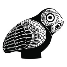 Ancient Greek Owl. Black And W...