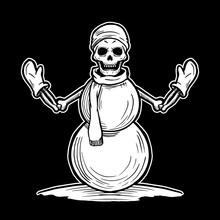 Skull Head Snowman With Bone T...