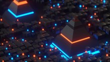 Pyramids And Glowing Cubes In ...