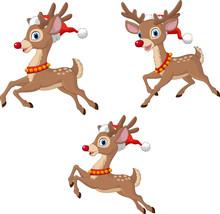Cartoon Christmas Reindeers Wearing Santa Claus Hat