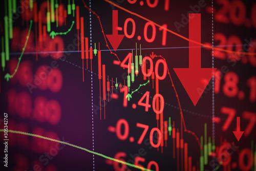 Fotomural Stock crash market exchange loss trading graph analysis investment indicator bus