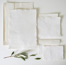 Vintage Hand Made Rag Paper Stationery Flat Lay Background