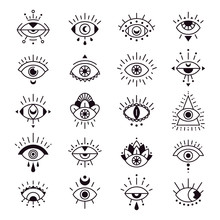 Evil Eye Sign. Decorative Alchemy Eyes Symbol Design, Mystic, Occult Tattoo Style Vector Illustration Set