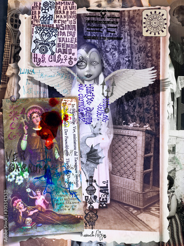 In de dag Imagination Collage with old macabre photographs. Alchemical, esoteric and mysterious manuscripts, and ghosts, nightmares and surreal illustrations