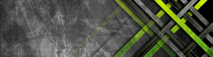Tech green stripes on abstract grey grunge corporate header banner. Vector ge...
