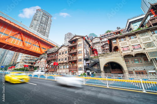 Photo China Chongqing traditional houses on stilts