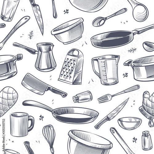 Fotografering Cooking utensils seamless pattern
