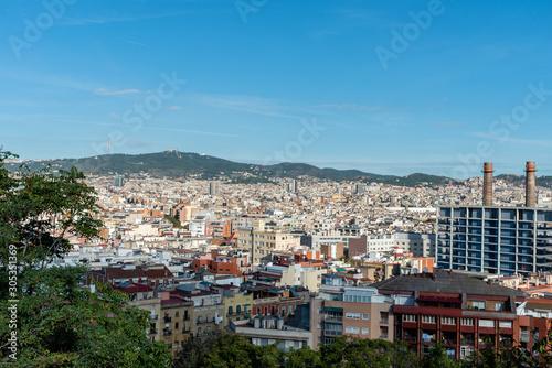 Scenic panoramic aerial Barcelona vista, Catalonia Wallpaper Mural