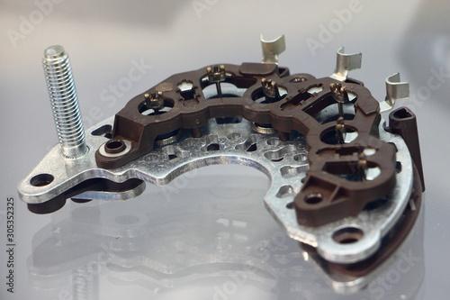 Photo New car alternator diode bridge horsrshoe close up