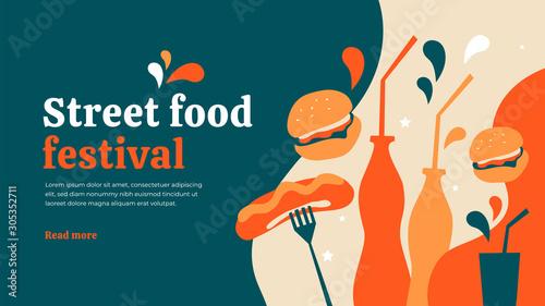 Obraz na plátně Vector illustration with hot dog sausages, burgers and drink
