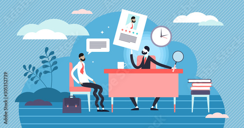 Job interview vector illustration. Tiny employment meeting persons concept.