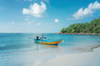 canvas print picture Beautiful tropical landscape, white sand, blue sea and traditional Thai boat, travel to Southeast Asia to Thailand to the islands, sea tours and travel