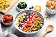 Smoothie Bowl Of Fruits Berries With Granola. Healthy Breakfast Bowl, Natural Organic Vegan Vegetarian Food