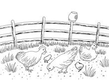 Chicken Hen Farm Bird Yard Graphic Black White Landscape Sketch Illustration Vector