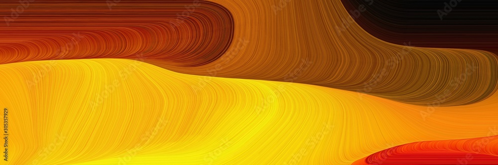 modern soft curvy waves background design with amber, very dark red and saddle brown color
