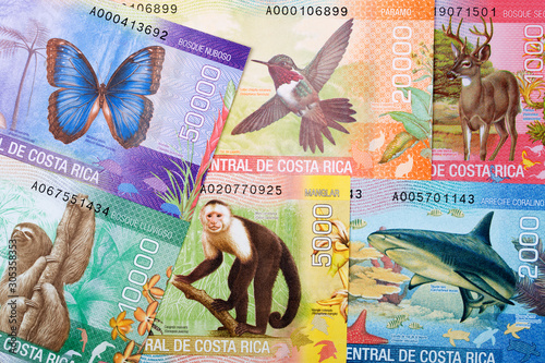 Costa Rican money - Colon a business background Fototapet