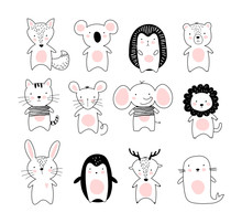 Kids Doodle Poster With Cute Animals. A Collection Of Animals In A Modern Scandinavian Nordic Style. Black And White Line Drawing Of Wild Animals And Pets. Fox, Koala, Hedgehog, Bear, Cat, Mouse