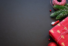 Black Festive Background With Red And Golden Decoration, Chrtistmas And New Year Greeting Card With Place For Text