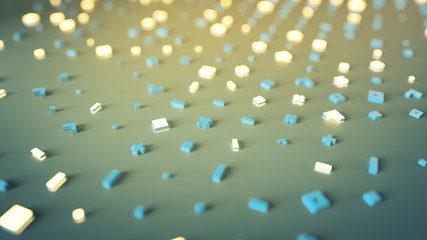 Yellow and blue glowing shapes 3D rendering