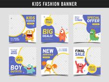 Kids Fashion Sale Square Banne...