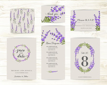 Collection Of Greeting Cards. Invitation Card With Lavender Flowers. Set Of Floral Vertical Template With Garden Blooming Flowers.