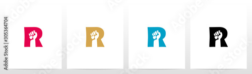 Cuadros en Lienzo Fist Inside Letter Logo Design R